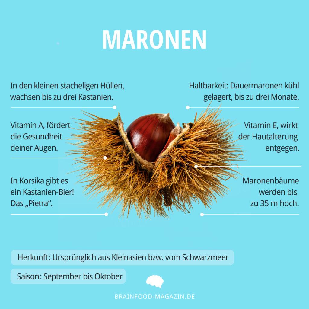 Maronen Herkunft, Saison, Haltbarkeit, Aufbewahrung und Nährstoffe. Wie gesund sind Maroni?