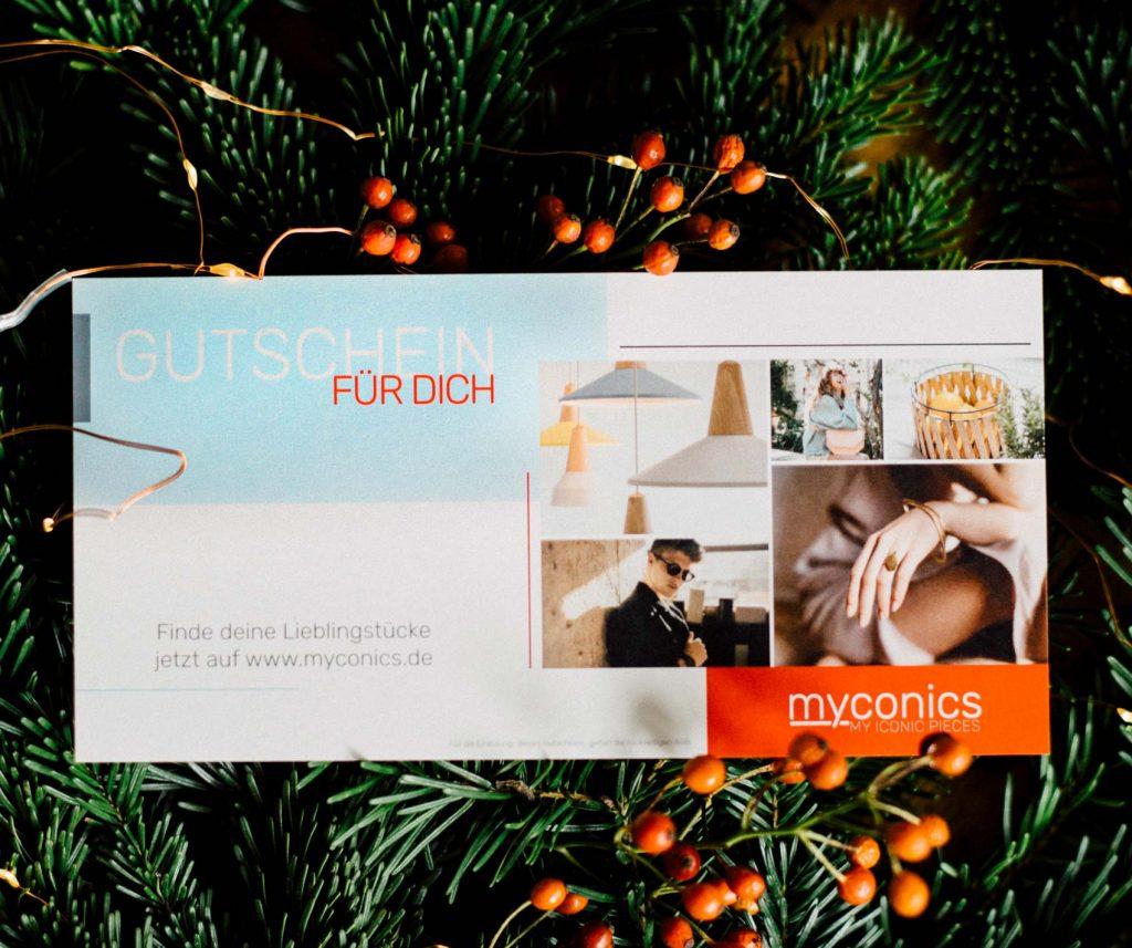 Gutschein myconics online Shop. Nachhaltige Mode, Schmuck, Küchenutensilien.