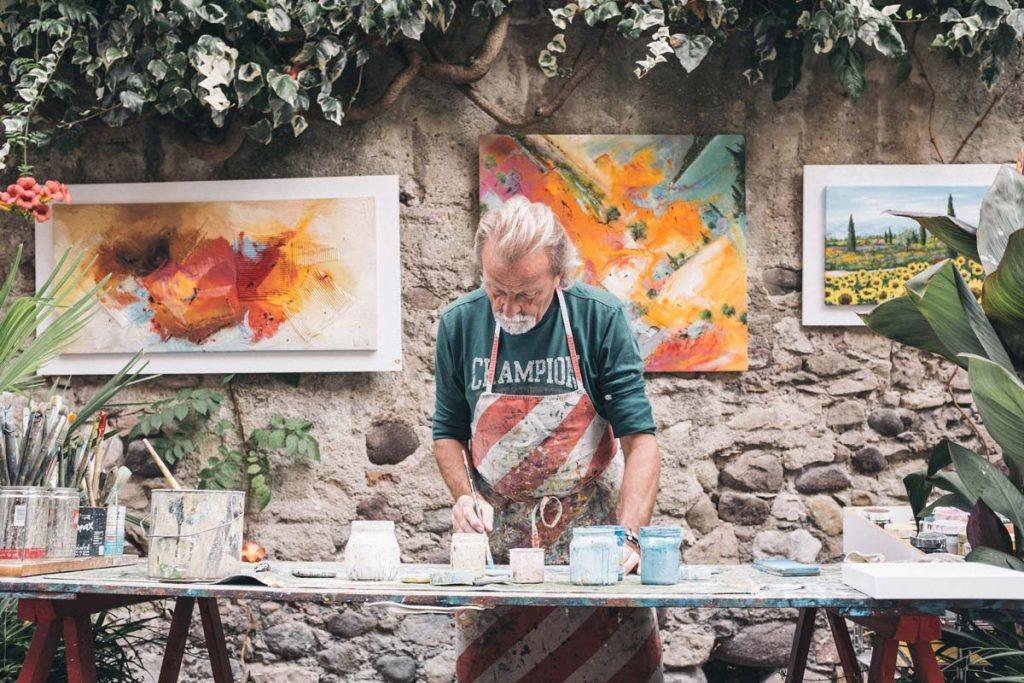 sinnvolle Arbeit, Künstler beim Malen, Mann Depression, Angst